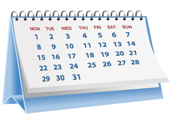 Vector format of blue desk paper calender