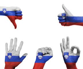 Hand set with the flag of Slovenia