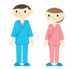 入院着の男女