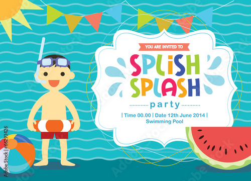 Birthday Card Invitation Summer Fun Splash Layered