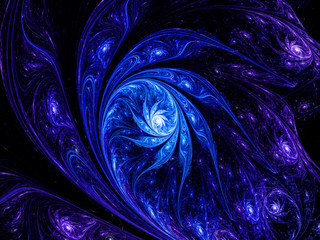 Artistic blue flower in space