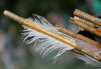 feathers for the stabilization of the wooden hunting arrow and b