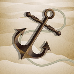 Metallic anchor on the sand. Vector.