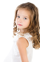 Portrait of sad adorable little girl isolated