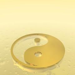 Golden yin yang symbol - 3D render