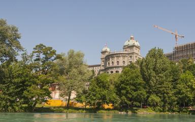 Bern, Altstadt, Aare, Bundeshaus, Baustelle, Schweiz