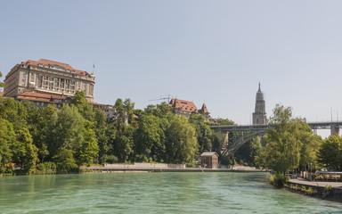 Bern, Altstadt, Aare, Fluss, Münster, Kirche, Brücke, Schweiz