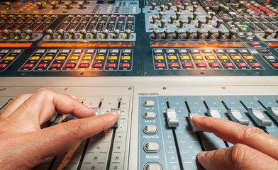 A digital mixing at recording professional studio.
