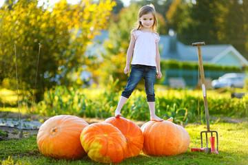 Cute little girl standing on huge pumpkins