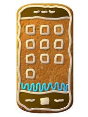 Gingerbread smartphone decorated colored icing