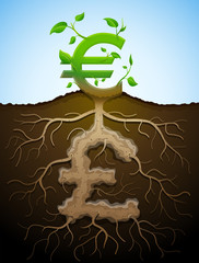 Growing euro sign like plant with leaves and pound like root