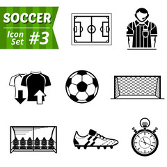 Icons set of soccer elements. Symbols for association football