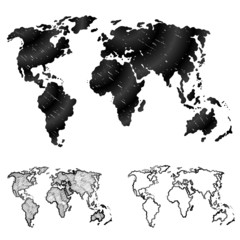 Hand drawn world map in three versions. Sketch of global map