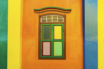 Colorful windows on a colonial house in Little India, Singapore