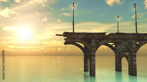 levé de soleil sur le pont - 66298006