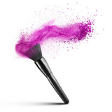 makeup brush with pink powder isolated