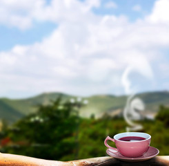 Cup of hot tea on a background summer landscape
