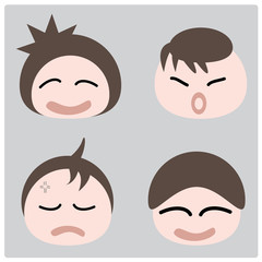 illustration cartoon boy faces icon on gray background