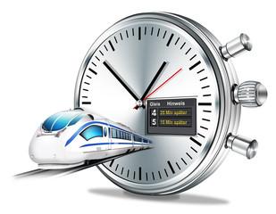Personenzug mit Stoppuhr und  Anzeige, Ankunftszeiten