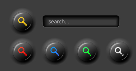 black search bar with 3d effect