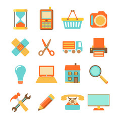 Set of colorful flat icons on white background