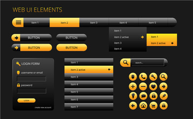 modern black and yellow web ui elements
