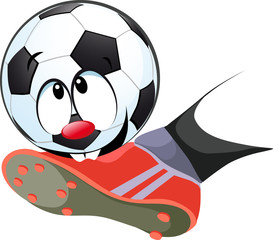 kick the ball biting - funny vector illustration