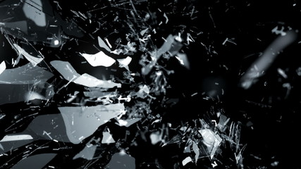 Splitted and Shattered glass with slow motion. Alpha