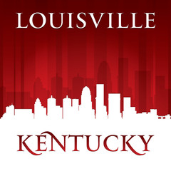 Louisville Kentucky city skyline silhouette red background