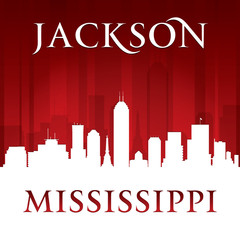 Jackson Mississippi city skyline silhouette red background