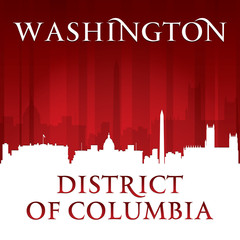 Washington DC city skyline silhouette red background