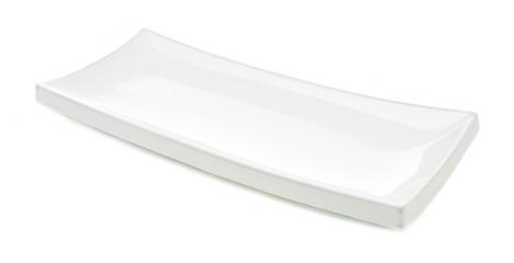 White rectangular serving plate isolated on white