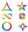 Ensemble d'Icones Couleurs Arc-en-Ciel Symboles Multicolores