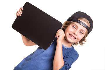Kid holding a chalkboarb