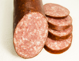 The sausage cut on slices