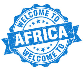 Welcome to Africa blue grungy vintage isolated seal