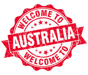 Welcome to Australia red grungy vintage isolated seal