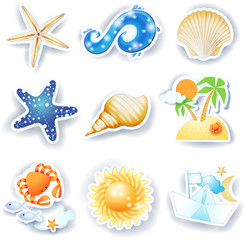 Holidays on the beach, set of vector icons