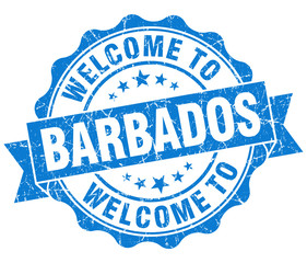 Welcome to Barbados blue grungy vintage isolated seal