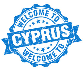 Welcome to Cyprus blue grungy vintage isolated seal