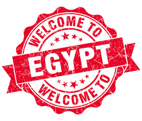 Welcome to Egypt red grungy vintage isolated seal