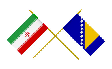 Flags, Iran and Bosnia and Herzegovina