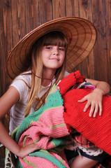 Closeup portrait of girl in hat