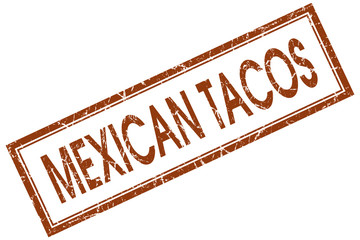 Mexican tacos brown square grungy stamp