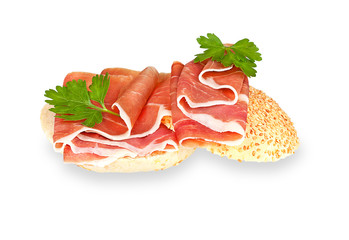 Hamon sandwich isolated on a white background