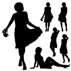 Silhouettes of beautiful woman in various poses