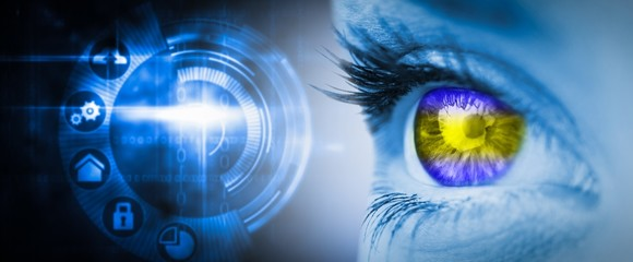 Composite image of green and yellow eye on blue face