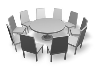 meeting concept illustration with chairs