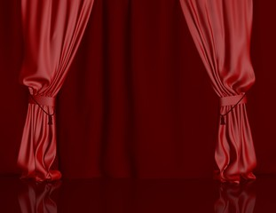 empty stage with red curtains and copy space template