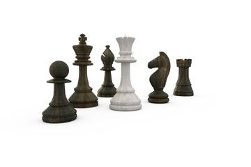 White queen surrounded by black pieces